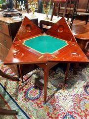 Sale 8693 - Lot 1060 - Edwardian Mahogany Envelope Top Card Table, the twisting top revealing a green & gilt baize interior, above a drawer & tapering legs