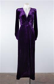 Sale 8760F - Lot 1 - A vintage Saint Laurent, Rive Gauche royal purple velvet gown with waist sash, approx size 6/8