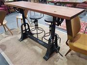 Sale 8901F - Lot 1016 - Vintage Metal Based Draughtsmans Table with Adjustable Base and Raw Timber Top