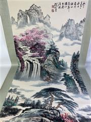 Sale 8909S - Lot 606 - Large Hand Painted Chinese Scroll Featuring Cherry Blossoms On Mountains