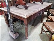 Sale 8956 - Lot 1057 - Large Edwardian Pine Library Table with brown inset top on six turned legs. (H:79 x L:258 x D:118cm)