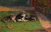 Sale 8955 - Lot 572 - George Frederick Harris (1856-1924) - Three Kittens and One Butterfly,1922 33 x 53.5 cm (frame: 48 x 69 x 6 cm)