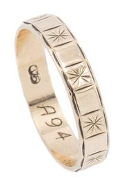 Sale 8999 - Lot 306 - A 9CT GOLD BAND; engraved star and block pattern, width 3.9mm, size P, wt. 2.09g.