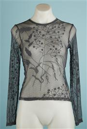 Sale 9071F - Lot 76 - A CHARCOAL OASIS LONG SLEEVE SHEER LACE TOP, in grey with floral motif, size 10
