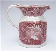 Sale 9080J - Lot 197 - A vintage English Masons Patent Ironstone Jug, C: Mid 1900s, the octagonal body decorated in red with the Vista pattern, the inner...