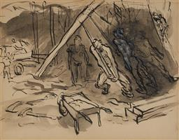 Sale 9109 - Lot 566 - Donald Friend (1915 - 1989) House Under Construction ink and wash on paper 16.5 x 21.5 cm (frame: 35 x 40 x 3 cm) stamp signed DF ...