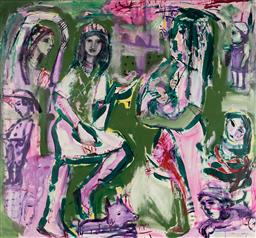 Sale 9141 - Lot 525 - Carlos Barrios (1966 - ) Mum Time mixed media on canvas 185 x 170 cm signed lower right