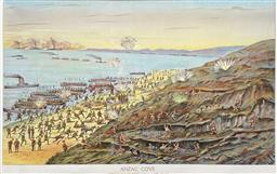 Sale 9150 - Lot 585 - CAPTAIN T. F NICHOLS - Anzac Cove, Gallipoli, Landing at the New Zealanders at 9.30 am, April 25 39 x 59.5 cm