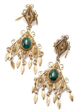 Sale 9164J - Lot 311 - A PAIR OF SILVER GILT STONE SET TASSEL EARRINGS; each a triangular filigree drop set with an oval cabochon eilat stone to embossed l...