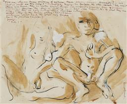 Sale 9178 - Lot 594 - DONALD FRIEND (1915 - 1989) Seated Nudes ink and wash 40 x 40 cm (frame: 59 x 69 x 3 cm) signed lower right