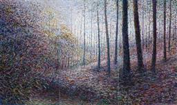 Sale 9216A - Lot 5099 - ARTIST UNKNOWN Forest Scene (triptych) oil on board 106 x 59.5 cm (frame: 108 x 63 x 3, each panel) signed lower left, left panel