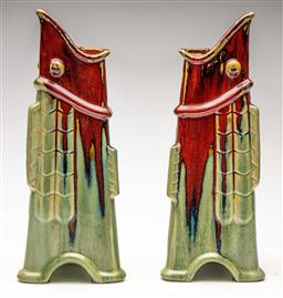 Sale 9209V - Lot 8 - A pair of unusual triangular fish form flambe vases (H:39cm)