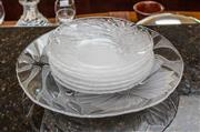 Sale 8270 - Lot 91 - A large crystal floral dish with 6 matching dishes. Large dish D, 28cm