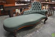 Sale 8267 - Lot 1017 - Victorian Carved Walnut Chaise Longue, upholstered in buttoned emerald green fabric & on cabriole legs