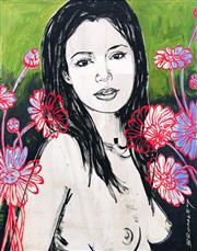 Sale 8350E - Lot 50 - David Bromley (1960 - ) - Mallory with Flowers 70 x 55cm (frame size 98 x 84cm)