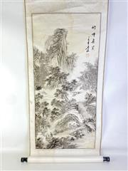 Sale 8926A - Lot 659 - Chinese Scroll Featuring Trees And Villagers (Some Stains)