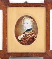 Sale 8952 - Lot 48 - Miniature of a young Gentleman in Fur Coat