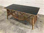 Sale 9056 - Lot 1075 - Split Cane and Black Glass Top Coffee Table (H:48 W:103 D:48cm)