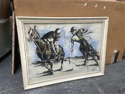 Sale 9094 - Lot 2099 - Artist Unknown (James), Polo Players, c 1950s, pastel, frame: 58 x 78 cm, signed lower right,