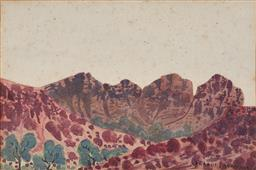 Sale 9125 - Lot 592 - Gerhard Inkamala (1917 - 1977) Central Australian Landscape watercolour (unframed) 24.5 x 37 cm signed lower right. Provenance: The ...