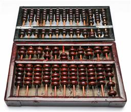 Sale 9144 - Lot 88 - A Chinese wood abacus, Chinese Forestry Association together with another with split