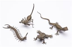 Sale 9170H - Lot 46 - A group of four brass reptile figures including a scorpion, longest Length 26cm, some missing eyes