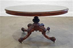 Sale 9215 - Lot 1062 - Victorian Burr Walnut Loo Table, the oval top on a turned carved pedestal & outswept legs (h:72 l:135 w:100cm)