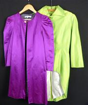 Sale 7982B - Lot 55 - Two satin opera coats, the lime example with tails, the other by Peter Som (M)