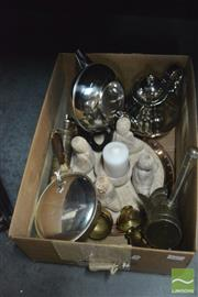 Sale 8407T - Lot 2497 - Box of Plated Wares & Candle Holder