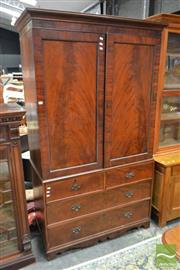Sale 8500 - Lot 1009 - Regency Mahogany Press on Chest, the beaded panel doors enclosing three slides (missing fourth), above two short & two long drawers,...