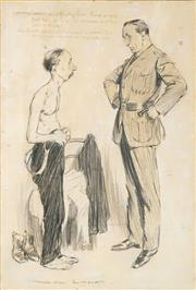 Sale 8565 - Lot 537 - Norman Lindsay (1879 - 1969) - Army Doctor 30 x 20cm