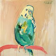 Sale 8583A - Lot 5041 - Mia Oatley (1977 - ) - Green and Gold budgie 61 x 61cm