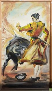 Sale 8604 - Lot 2090 - Artist Unknown - The Bullfighter acrylic on board, 127 x 74cm, unsigned