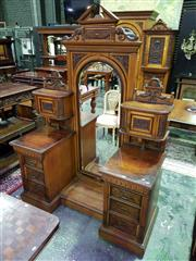 Sale 8653 - Lot 1035 - Late Victorian Ash & Carved Walnut Dressing Table, by G. Batholomew & Co, Finsbury London (plaque to base), the arched cheval mirror...