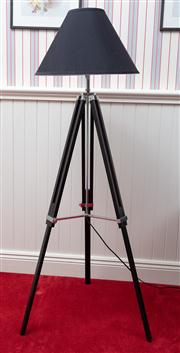 Sale 8677B - Lot 841 - A black timber tripod lamp with shade and adjustable height