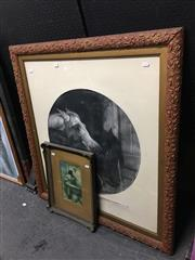 Sale 8707 - Lot 2093 - Antique Mezzotint Members of the Agricultural Society 96 x 88cm (frame), plus an Antique Frame with decorative print (2)