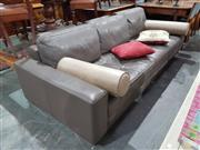 Sale 8740 - Lot 1430 - Modern Grey Leather 3 Seater Lounge