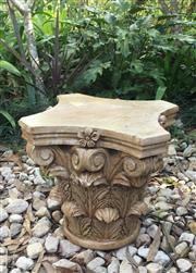 Sale 9080G - Lot 19 - Carved Genuine Stone Column Capital Top .General Wear , slight Chipping ,Natural Stone Vein Lines,Marks, appears has previous repair...