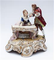 Sale 9080J - Lot 199 - A charming vintage European porcelain figure group fitted with a good quality musical movement, the period dressed musician figures ...