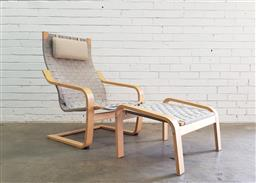 Sale 9112 - Lot 1044 - Bentwood lounge chair and stool by Ikea (h:97 x w:68 x d:75cm)
