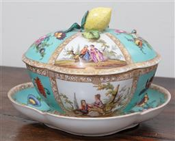 Sale 9120H - Lot 366 - A Dresden lidded bowl and dish with lemon finial marked for Augustus Rex below. Length of saucer 25cm