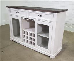 Sale 9188 - Lot 1281A - Modern timber kitchen 2 door sideboard with 2 drawers above, wine glass rack below (h92 x w137 x d46cm)