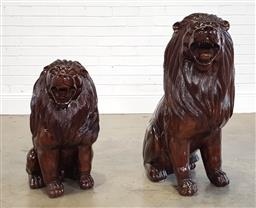 Sale 9218 - Lot 1002 - Pair of carved timber lions (h80cm)