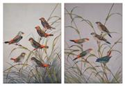 Sale 8000 - Lot 97 - Neville William Cayley (1886 - 1950) - Group of Finches (2) watercolour