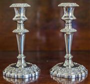 Sale 8284A - Lot 34 - An excellent quality pair of silverplate on copper candlesticks. Ht: 20cm