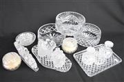 Sale 8396 - Lot 63 - Etched Crystal Condiments with Other Crystal Ware Incl. Trays and Bowls -