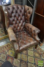 Sale 8500 - Lot 1066 - Georgian Style Brown Buttoned Leather Wing Back Armchair