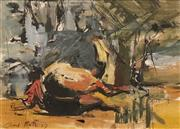 Sale 8616 - Lot 591 - Carl Plate (1909 - 1977) - Horse on the Ground (Study), 1957 27.5 x 38cm