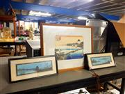 Sale 8678 - Lot 2066 - 3 Japanese Artworks incl. Colour Woodblock and (2) Watercolours (framed, various sizes)