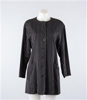 Sale 8760F - Lot 115 - An Escada by Margaretha Ley navy and white pinstripe jacket, size 36